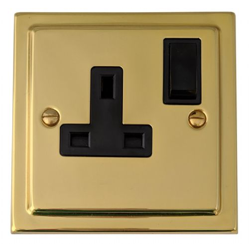 G&H TB9B Trimline Plate Polished Brass 1 Gang Single 13A Switched Plug Socket